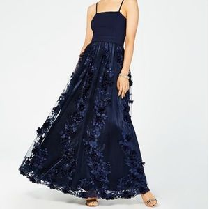 8de7b9f6048b Trixxi Dresses | Navy Floral Appliqu Prom Dress | Poshmark